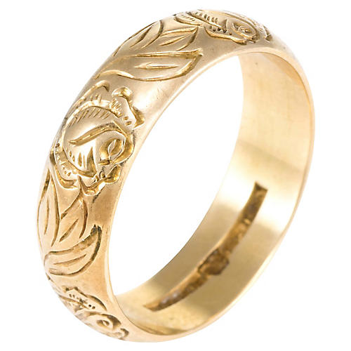 18k Rose & Foliate Swedish Wedding Band