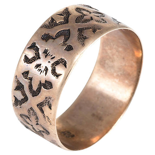 Antique Victorian Embossed Wedding Band