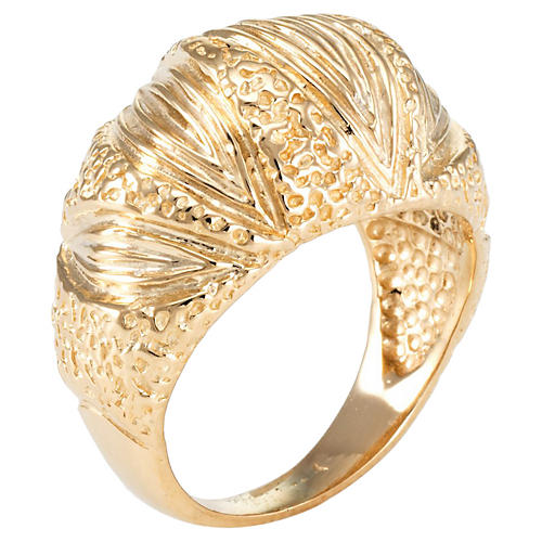 14K Gold Textured Dome Cocktail Ring