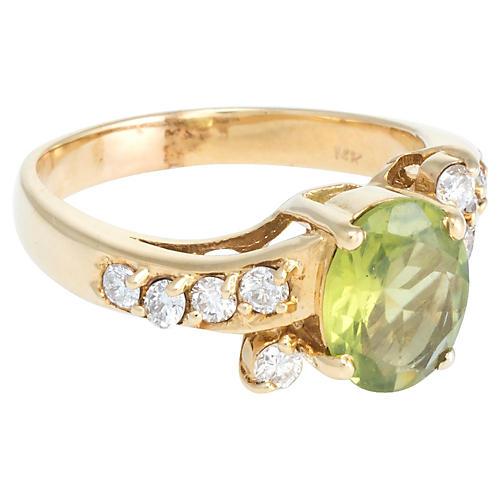 Peridot & Diamond Cocktail Ring