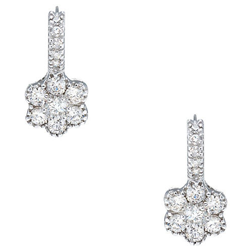 1.33ct Diamond Flower Drop Earrings