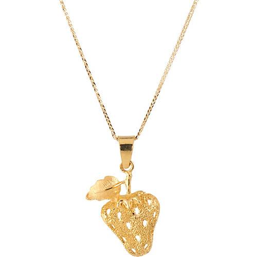 24k Gold Strawberry Pendant Necklace