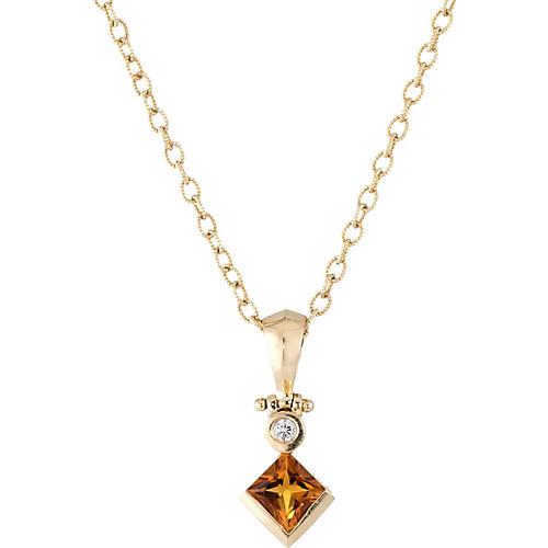 14k Gold Citrine & Diamond Drop Necklace