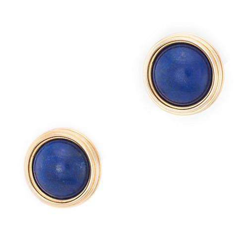 Lapis Lazuli Round Disc Stud Earrings