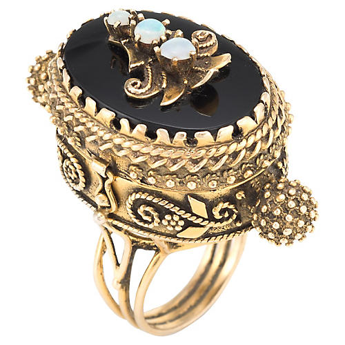 14k Gold Poison Onyx Pillbox Ring