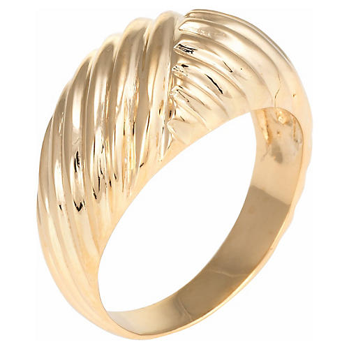 18k Gold Textured Dome Cocktail Ring