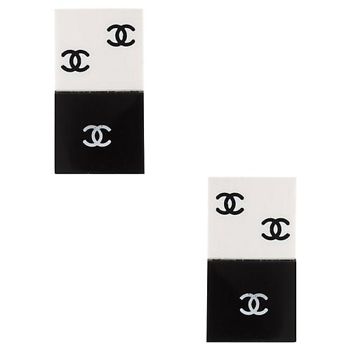 Chanel Black White Domino Quad Earrings