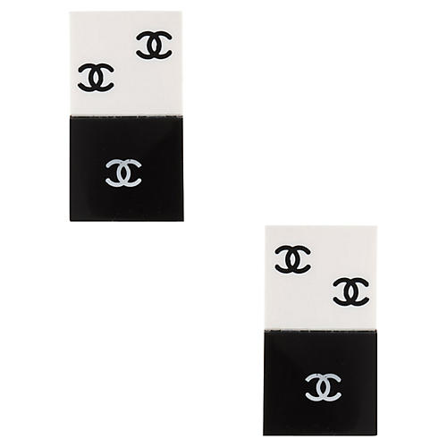Chanel Black White Domino Quad Earrings
