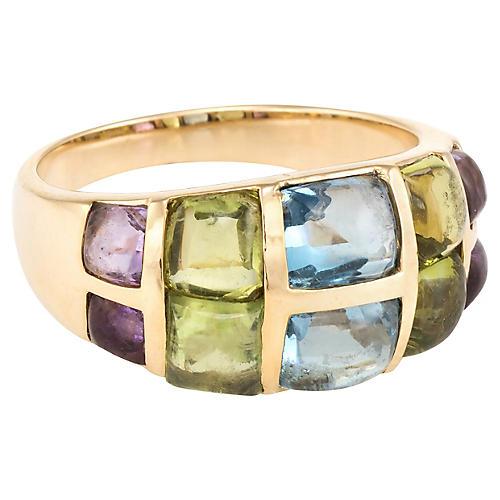 Rainbow Gemstone Sugarloaf Cocktail Ring