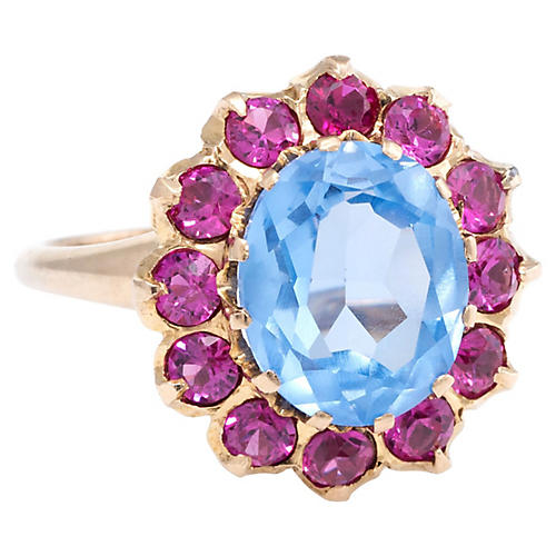 Blue Topaz & Lab Ruby Cocktail Ring