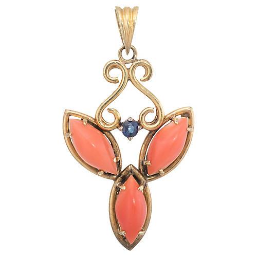 Coral & Sapphire Pendant