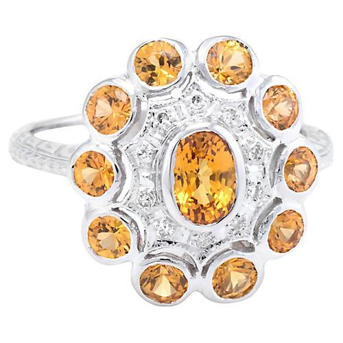 Citrine Diamond Princess Cocktail Ring