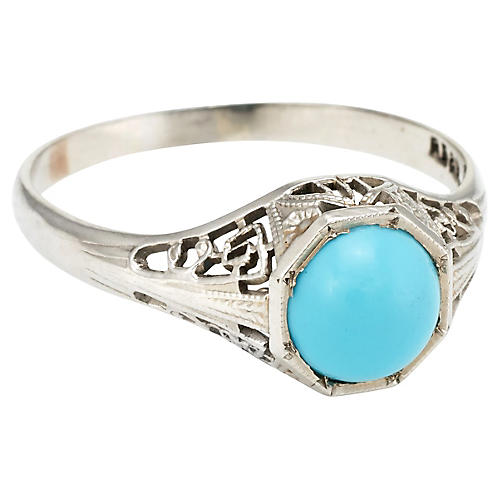 Art Deco Turquoise Filigree Ring