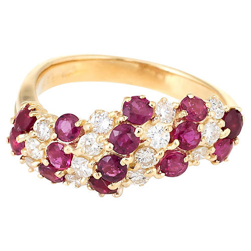 18K Gold, Ruby & Diamond Candy Cane Ring