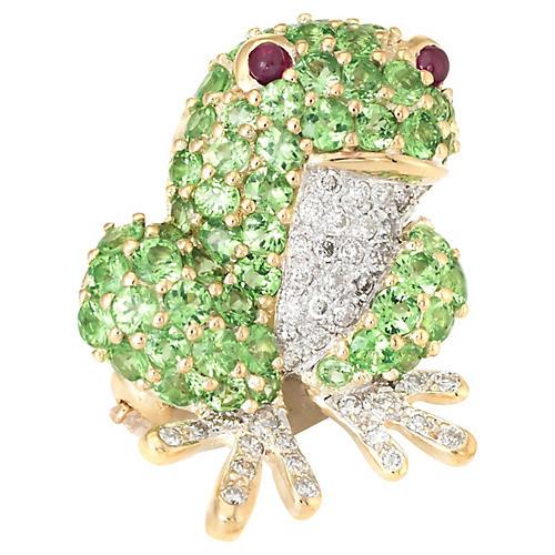18K Tsavorite Garnet Frog Brooch