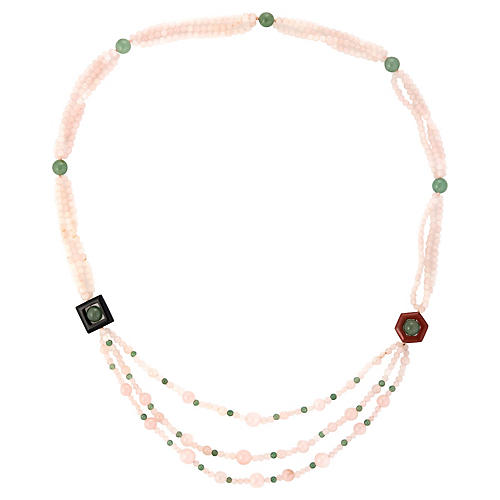 Rose Green Quartz Long Necklace