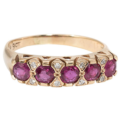 Ruby Diamond Anniversary Band Ring