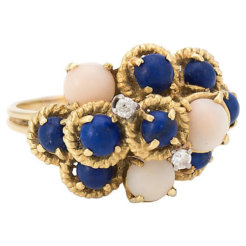 Angel Skin Coral Lapis Diamond Ring