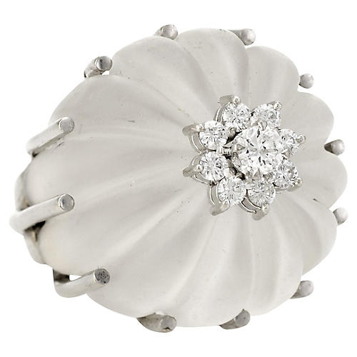 Fluted Rock Crystal Diamond Dome Ring