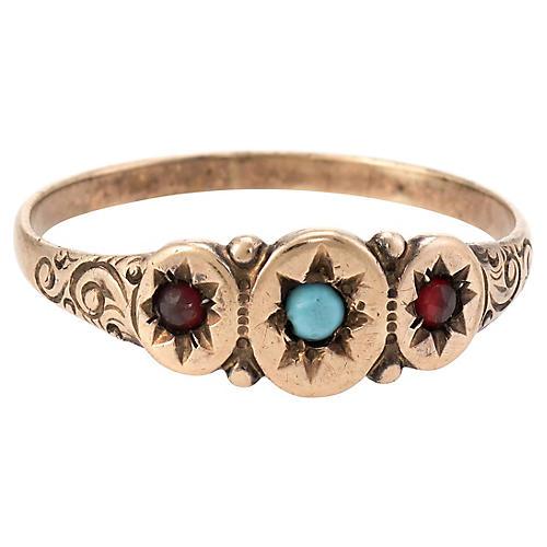 Antique Victorian Turquoise Garnet Ring