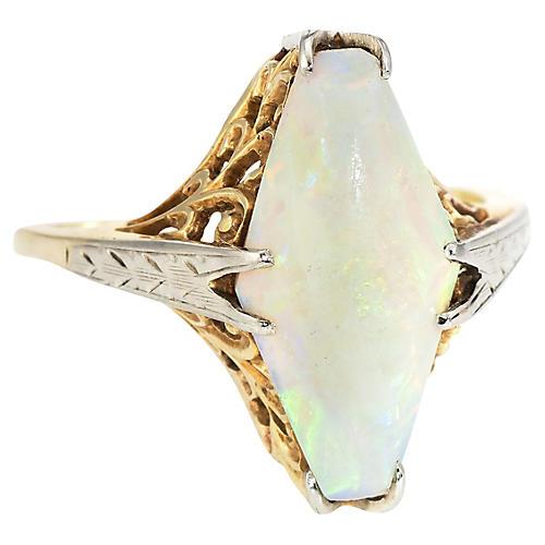 Art Deco Opal Cocktail Filigree Ring