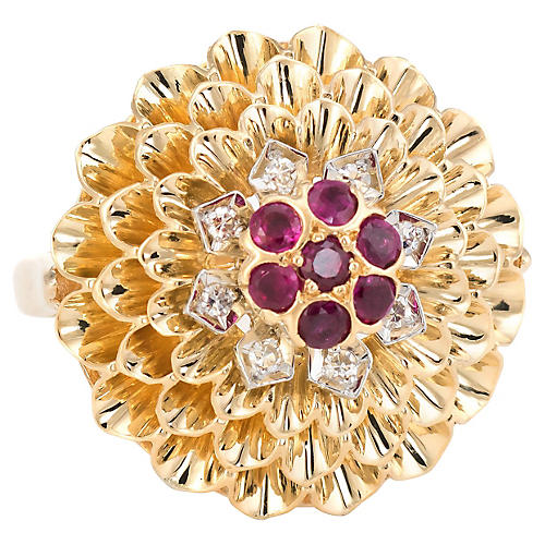 14K Dahlia Flower Cocktail Ring