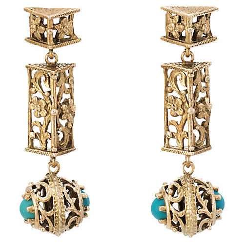 14k Turquoise Floral Drop Earrings