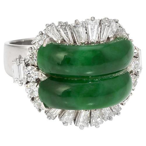 Jade & Diamond Cocktail Ring