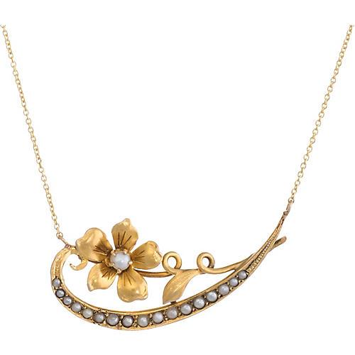 Victorian Crescent Moon Flower Necklace