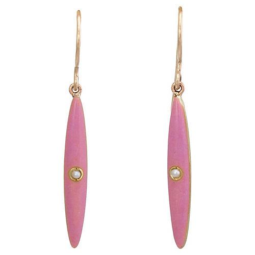 Victorian Pink Enamel Earrings