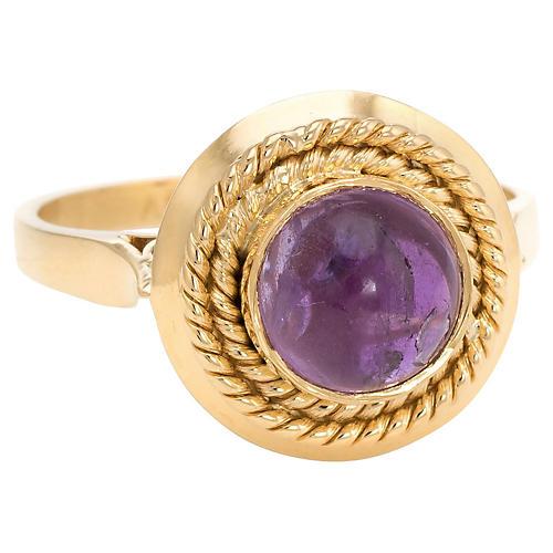 18K Gold & Amethyst Cabochon Ring