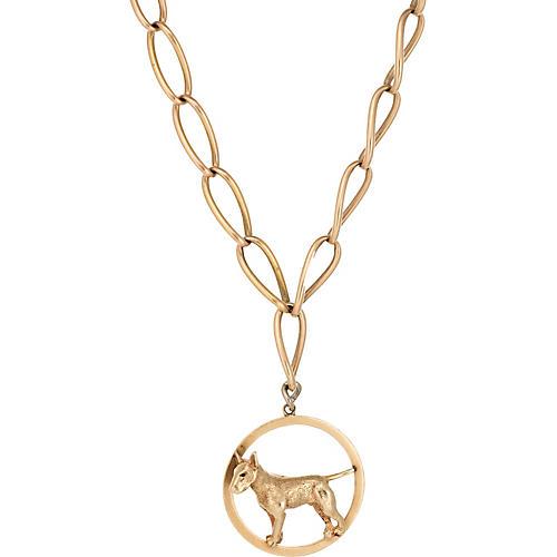Victorian 14K Gold Dog Necklace