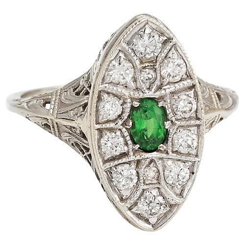 Art Deco Navette Diamond & Emerald Ring