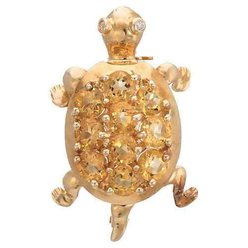 Citrine Turtle Brooch
