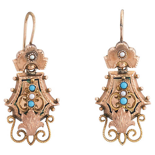 Victorian 10K Gold & Turquoise Earrings