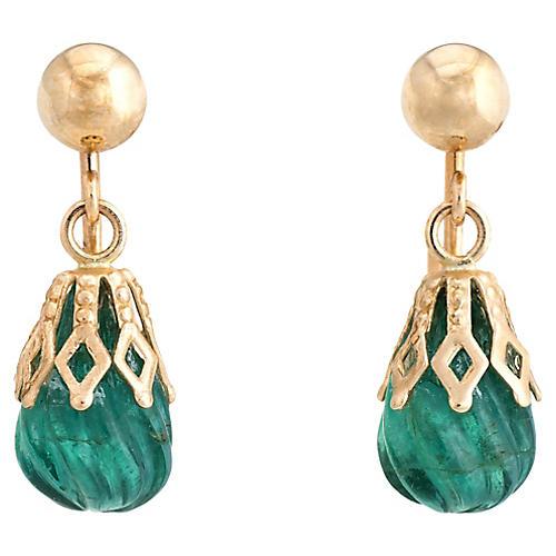 14K Gold & Fluted Emerald Earrings