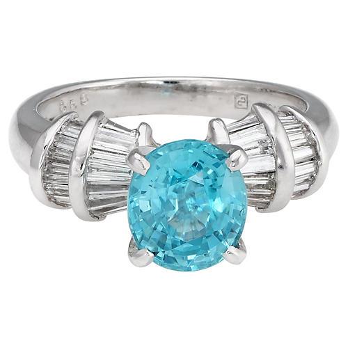 Natural Blue Zircon & Diamond Ring
