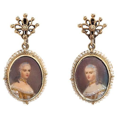 14K Gold & Seed Pearl Portrait Earrings