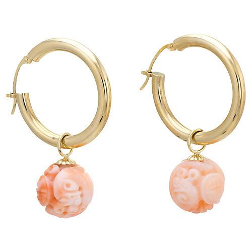 Carved Coral Hoop Earrings