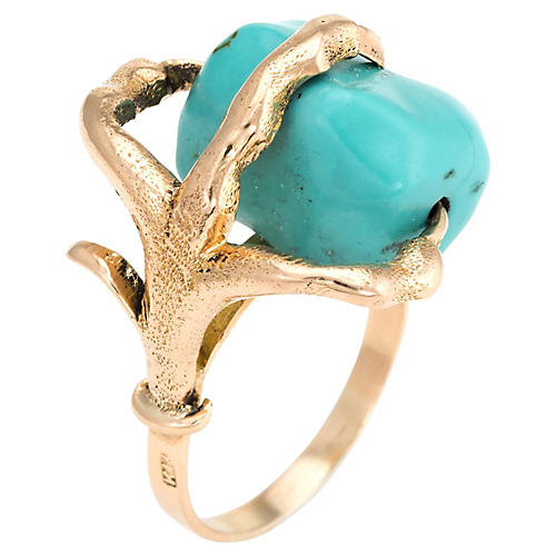 14K Gold & Turquoise Dragon-Claw Ring
