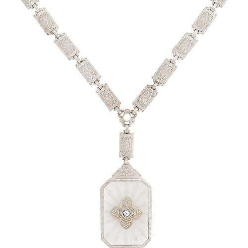 Art Deco Diamond Necklace Camphor Glass