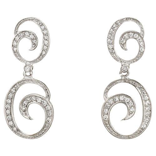 Diamond Pendant Drop Earrings 18k Gold
