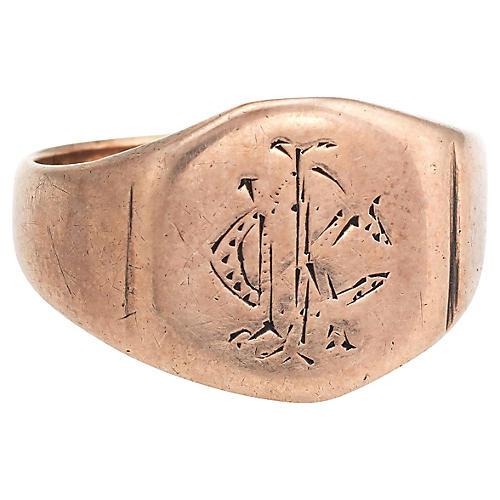 Victorian 9K Rose Gold Signet Ring
