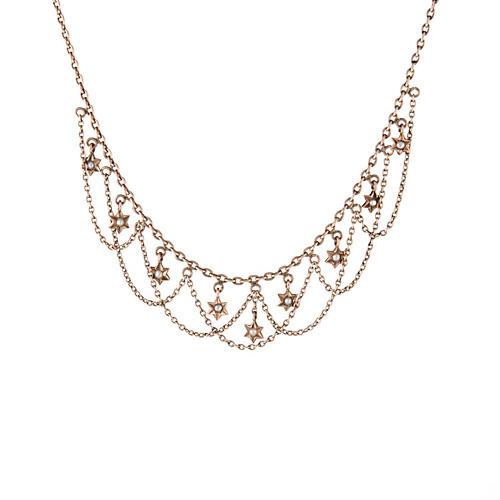 Art Deco Star Fringe Necklace
