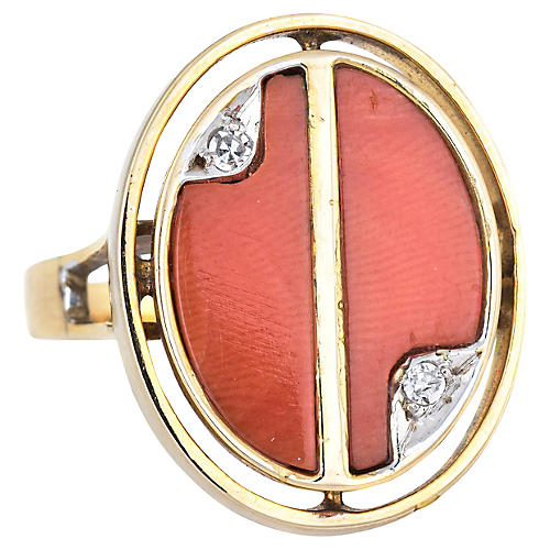70s Coral Diamond Oval Ring