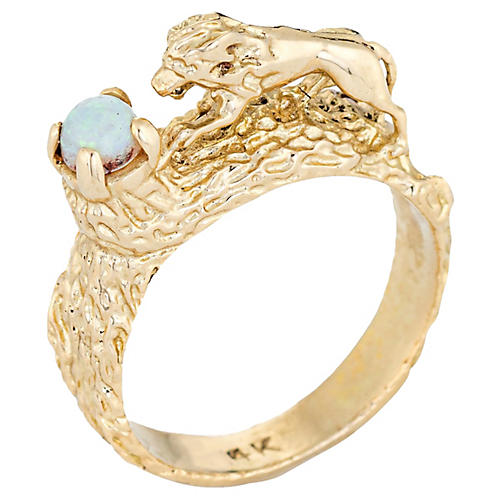 14K Perched Lion Ring Gold Opal