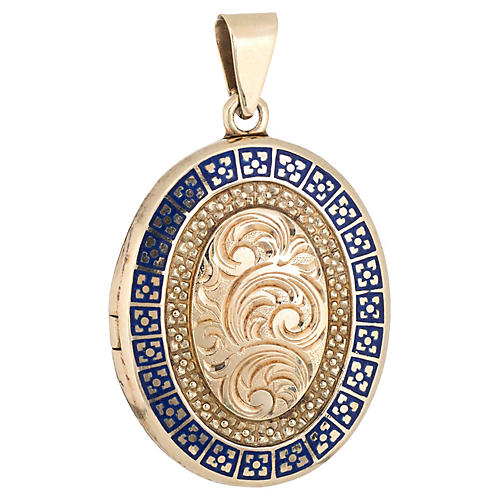 Blue Enamel Oval Locket 14k Gold