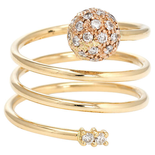 18K Pave Diamond Orb Ring