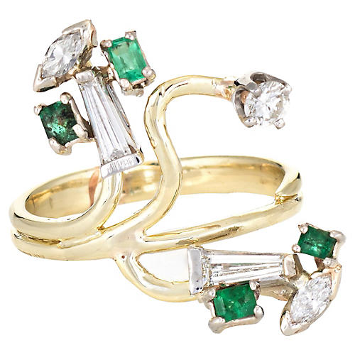 Diamond Emerald Branch Ring 14k Gold