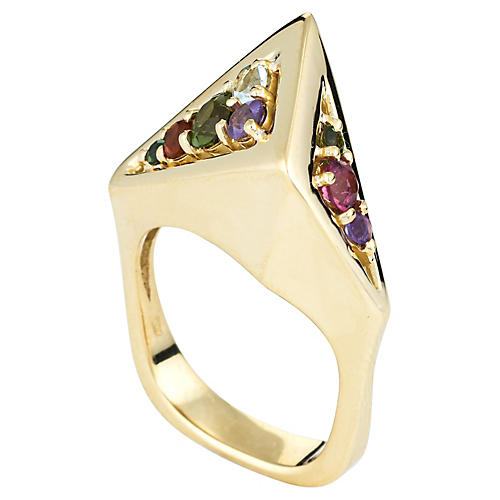 H Stern 80s Rainbow Gemstone Ring 18k